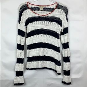 Lucky Brand blue and white striped sweater